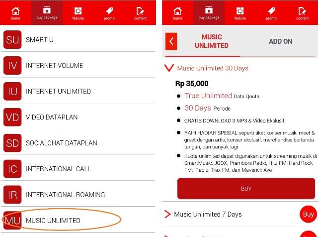 Screen Capture aplikasi MySmartfren untuk pembelian paket streaming musik unlimited