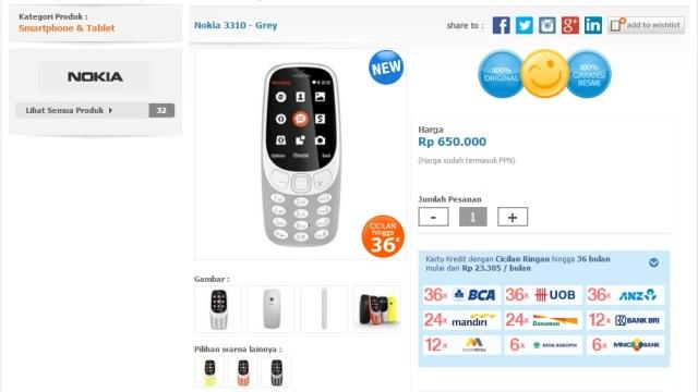 Nokia 3310 reborn dijual di ecommerce Dinomarket