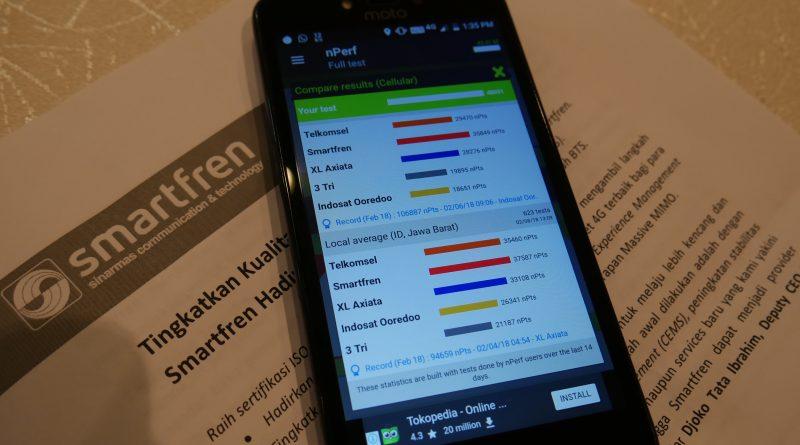 Kecepatan Rata-Rata Internet SMartfren paling tinggi, berdasarkan aplikasi nPerf speed test