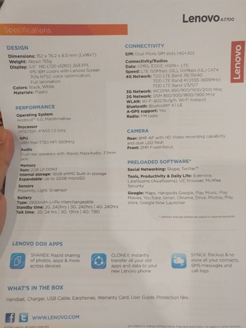 spesifikasi Lenovo A7700